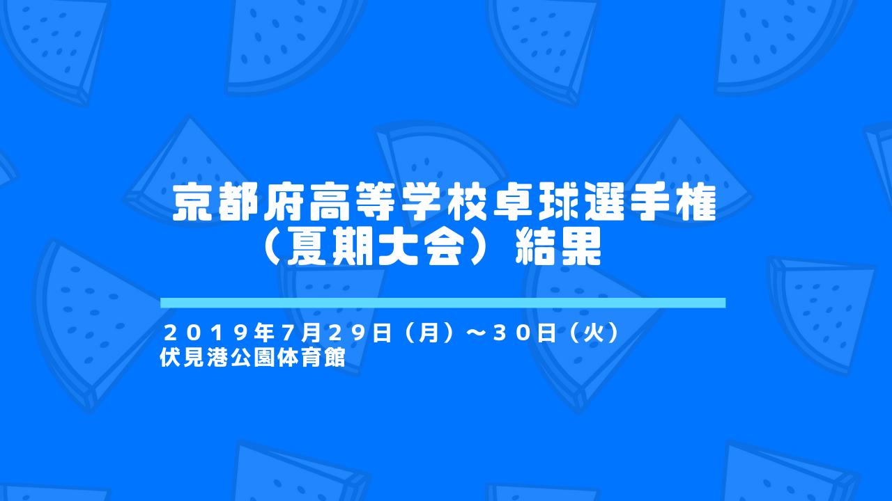 【高体連】京都府高等学校卓球選手権(夏期大会)結果